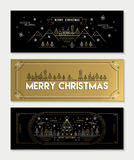 Gold line art Christmas banner template set Royalty Free Stock Image