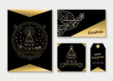 Gold line art set christmas greeting card template Royalty Free Stock Photo