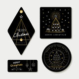 Gold line art and tag template set for christmas Stock Photography