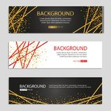 Gold Line Banners. Golden glitter shine sparkles invitation. Print sparkle, ribbon, birthday party, Business web header, congratulation, surprise, Wedding Stock Images