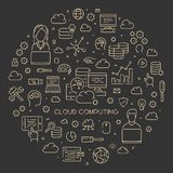 Gold line concept of cloud computing Royalty Free Stock Photos