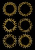 Gold line designed circle vector frame set. Fine decorative frames from golden wire on black background. Elements for luxury desig. N. Vector EPS 10 Stock Photos