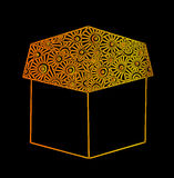 Gold line gift box on the black background Stock Photos