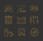 Gold line icons set of hiking, camping and tourism Stock Photos