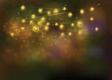 Gold Line light on the background bokeh festive lights at night. Feast for the Chinese new year. This vector file is split layers of lighting, bouquet and Royalty Free Stock Photography