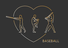 Gold line  logo for baseball. Royalty Free Stock Photo