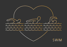 Gold line  logo for swim. Royalty Free Stock Photography