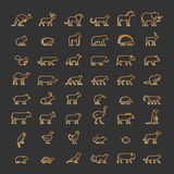 Gold line set of silhouettes of animals Stock Photo