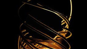 Gold lines bend a circle. 3D rendering Stock Photography