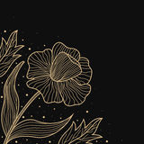 Gold lines flower design on black Royalty Free Stock Photography