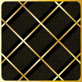 Gold lines, polka dots, Black Background. Gold diagonal stripes pattern, Black Background Royalty Free Stock Photo