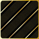 Gold lines, polka dots, Black Background. Gold diagonal stripes pattern, Black Background Royalty Free Stock Photography