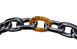 Gold Link In the Chain. 3D render of a silver chain with a gold link Royalty Free Stock Photos