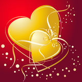 Gold linked hearts. On red background Stock Photography