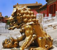 Gold lion in Forbidden City Royalty Free Stock Photography