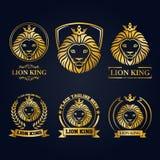 Gold lion head mascot collection. Illustration of Gold lion head mascot collection Stock Photography