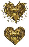 Gold lion heart. Frightening golden lion head in the form of heart with the open mouth, installing horror ready for a tattoo, graphics on the vehicle, also for Stock Photo