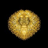 Gold lion with long curly locks on the mane.  stock illustration