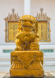 Gold lion statue. Royalty Free Stock Photography