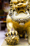 Gold lion statute Royalty Free Stock Image