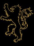 Gold lion tattoo illustration Royalty Free Stock Photo