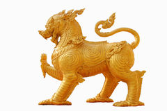 Gold lion on white background Stock Photo