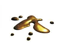 Gold liquid. Art Royalty Free Stock Image