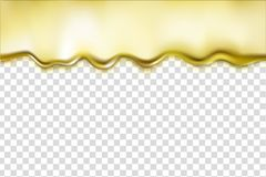 Gold liquid dripping alloy texture isolated on transparent background. Bright golden metallic oil, shiny fluid border vector illustration