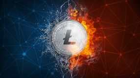 Gold Litecoin coin hard fork in fire flame, lightning and water splashes. Golden Litecoin coin in fire flame, water splashes and lightning. Litecoin blockchain Stock Photography