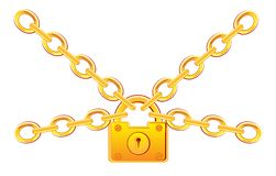 Gold lock in chain Royalty Free Stock Photography