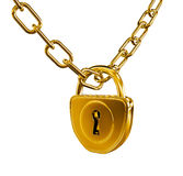 Gold lock with chain isolated Stock Images