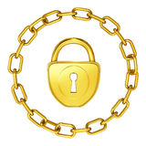 Gold lock with chain isolated security Royalty Free Stock Photography