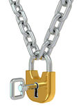 Gold lock on chain with key Royalty Free Stock Photos