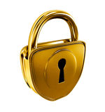 Gold lock isolated Stock Images
