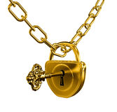 Gold lock with key and chain. Isolated with clipping path included stock illustration