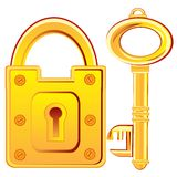 Gold lock and key Royalty Free Stock Photo