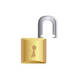 gold lock open icon Royalty Free Stock Images