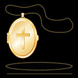Gold Locket with Christian Cross, Engraved Stock Photography