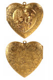 Gold Locket Heart Charm with Cherubs. Isolated on white royalty free stock image