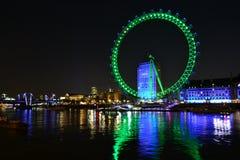 Gold London eye. View of London Eye at night Stock Image