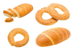 Gold Long loaf and bagels with sesam Stock Photo