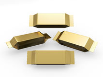 Gold long rectangle packet with clipping path. Gold blank package for long rectangle shape product with clipping path, packaging or wrapper for Chocolate Stock Photo