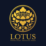 Gold Lotus in circle frame logo and sign vector design Stock Images