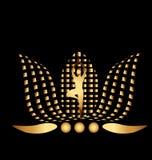 Gold Lotus man  logo design. Gold Lotus man background template vector Stock Photo