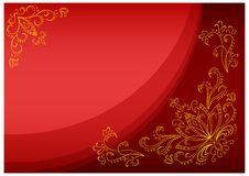Gold lotus on a scarlet background Royalty Free Stock Photo