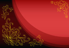 Gold lotus on a scarlet background Stock Image