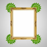 Gold louise and leaves photo frame  Royalty Free Stock Images