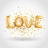 Gold love sparkles balloons. Gold letter love balloons. I love you. Valentines day card. Gold background for flyer, poster, sign, banner, web header. Abstract Stock Images