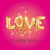 Gold love sparkles balloons. Gold letter love balloons on pink. I love you. Valentines day card. Gold background for flyer, poster, sign, banner, web header Royalty Free Stock Photos