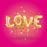 Gold love sparkles balloons Royalty Free Stock Photos